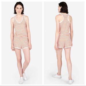 Everlane Gia white orange striped cotton romper L